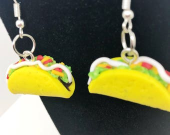 Taco Earrings -  Handmade - Dangle - Gift - Birthday - Anniversary - Polymer Clay - Unique - Food Jewelry - Realistic