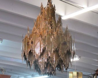 Torche Cut Tom Greene Brutalist Chandelier