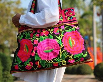 Pink Floral Embroidered Woman's Tote bag   Hmong Bag    Ethnic Shoulder Bag    Bohemian bag     Beach Bag  Fair Trade