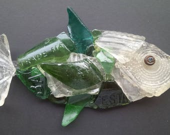 Thames Glass Fish made with river glass collected along the banks of the River Thames London