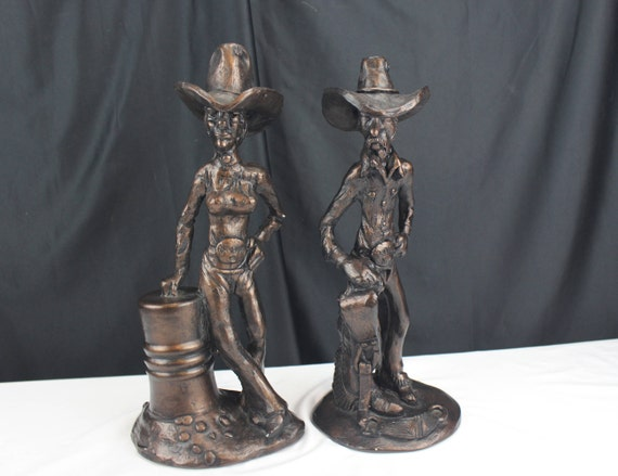 Vintage Pair 1976 R J Moore Western Rodeo Couple Ceramic Statue Sculpture Signed
