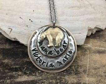 Mama Bear Necklace. Personalized Necklace. Customized Necklace. Mixed Metal Jewelry. Necklace for Mom. New Mom Gift. Hand stamped.