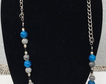 Blue Gray Beaded Necklace
