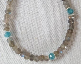 Labradorite with Emerald and silver