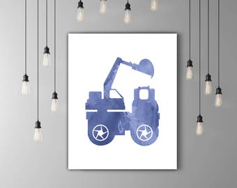 Boy Nursery Wall Art, Truck Wall Decor, Excavator Boy Room Decor, Baby Boy Nursery, Truck Art, Boy Room Art, Truck Print, INSTANT DOWNLOAD