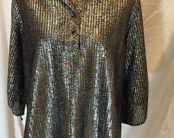 Vintage C,Mon Metallic Multicolor Lurex Disco Top Tunic Short Sleeve Shirt