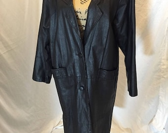 Vintage Marco Morani Womens Black Long Leather Trench Coat Jacket with Front Button Size M
