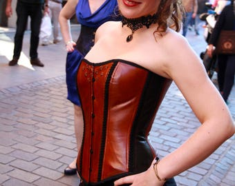 black and brown leather corset