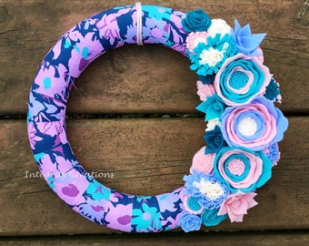 Fabric Wrapped Spring and Summer Flower Wreath