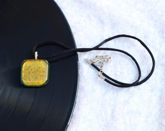 Gold Dichroic fused glass pendant / necklace - Would make a great wedding / birthday / anniversary present / gift