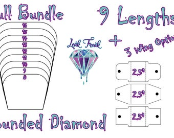 """Rounded Diamond/Full Bundle/Cloth Pad Sewing Pattern/2.5"""" Snapped Width"""