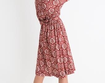 80s Rust Printed Dress