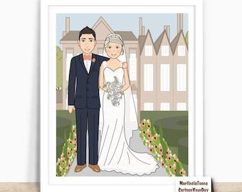 Wedding portrait - Wedding illustration - Couple drawing - Personalized wedding portrait - Couple portrait illustration - Wedding gift