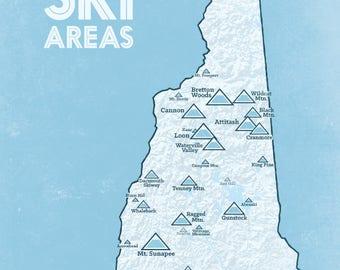 New Hampshire Ski Resorts Map 18x24 Poster
