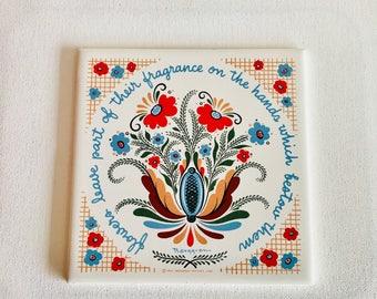 1964 Berggren Trayner Corp Vintage Ceramic Trivet