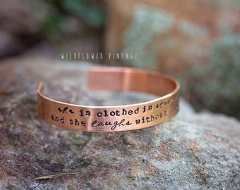 She is clothed in strength and dignity Copper Cuff Bracelet | Hand Stamped Christian Bible verse Proverbs 31:25