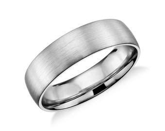 Matte Classic Wedding Ring in Platinum - 4mm 5mm 6mm or 7mm Wide Width - Brushed Classic Men's Platinum Wedding Band - Low Profile