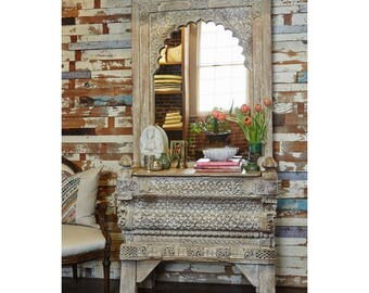 Architectural Whitewash Carved Vanity, Bathroom Vanity, Make Up Vanity,  Vanity Mirror, Vanity