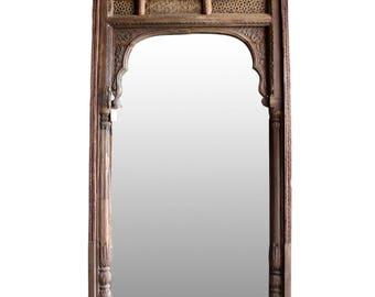 19th Century Khatu Carved Floor Mirror, Indian Floor Mirror, Carved Floor Mirror, Antique Mirror, Tall Floor Mirror, Arch Indian Mirror