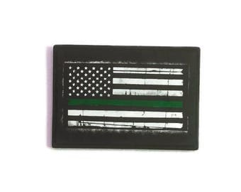 Thin Green Line Flag Home Decor, Border Patrol Wooden Flag, Border Patrol Wood Sign, Game Warden Flag, Federal Agents, Game Wardens