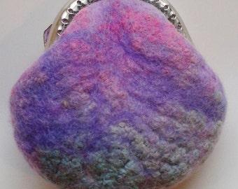 Pretty wet wool felt purse Merino wool small purse kiss lock purse small jewellery or money purse gifts birthday womens   11564