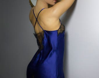 Luxury beautiful  lingerie and loungewear handmade in England. Chantilly lace and luxury silk midnight blue silk slip