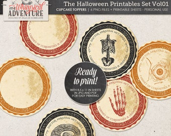 Spooky Halloween Party Decor, Anatomical, Cabinet Of Curiosities, Digital Collage Sheet, Gothic Style, Printable Creepy Cupcake Toppers,
