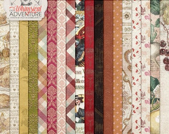 Be Thankful, Count Your Blessings, Thanksgiving Dinner, Patterned Digital Paper Pack, Instant Download, To Gather, Digital Scrapbooking
