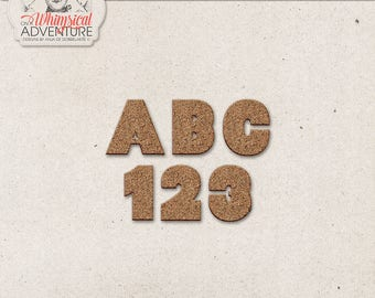 Cork Style Digital Alphabet, Back To School, Digital Scrapbooking Elements, Instant Download, Chunky Alpha Clip Art, Letters Numbers Symbols