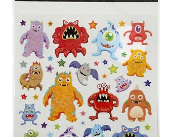 STICKERS monsters monster sheet, 15 cm x 16,5 cm, 5.9 inch x 6.5 inch, The Weavers Mill 28960