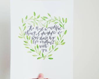 The Most Wonderful Thing Hand-Lettered 8x10 Calligraphy Art
