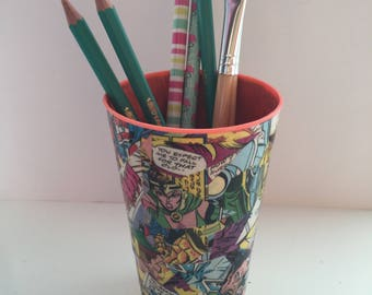 Decoupaged Marvel/DC Comic Book Pencil Pot - Pen Pot - Paintbrush Holder - Study - Kitchen Utensil Organiser - Makeup Brush Cup