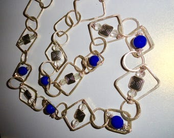 Artsy Blue Jade Chain Necklace with Quartz crystal and square spiral silver tone accents, Long Chain Necklace, Up to 30 inches.