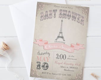 Paris Baby Shower Invitation / Digital Printable Eiffel Tower Invite / DIY Party