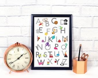 Alphabet poster, ABC poster, Alphabet nursery print, gender neutral nursery decor, alphabet art, ABC print, kids wall art, digital file.