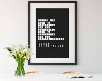 SOREN KIERKEGAARD, Wall Art, Black and White Print, Philosophy, Philosophy Quote, Philosophy Gift, History Teacher Gift