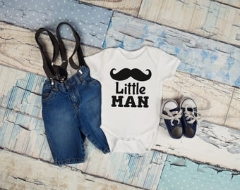 Little Man Mustache Baby Boy Infant Toddler Shirt Tee Bodysuit Coming Home Birthday Gift Idea