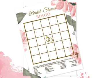 Watercolor Bridal Shower Game Printable Bridal Shower Game Bridal Bingo Game Hens Party Game Pink Blush |INSTANT DOWNLOAD |MERYL Collection