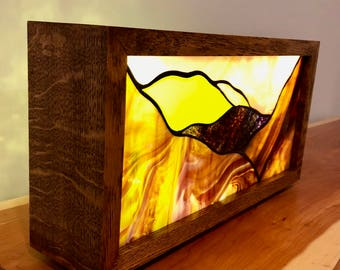 Tiger Oak and  Stained Glass Case Light (large, rectangle)