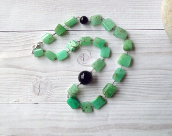 Chrysoprase necklace. Rough chrysoprase necklace. Chrysoprase nuggets necklace. Chrysoprase Rosary necklace. Gifts for her. Free shipping.