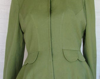 1940s Jacket Olive Green Chas Kupersmith Scallops