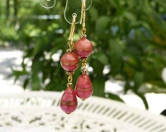 Murano glass pink matte with aventurine earrings