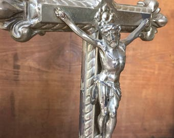 Vintage French Silver-Plate Altar Table Top Crucifix Cross 14""