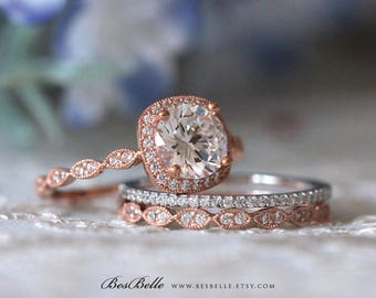 2.45 ct.tw Twotone Art Deco Bridal Set-Halo Engagement Ring W/ Mix Twotone Wedding Band Ring-Rose Gold Plated-Sterling Silver [65360TT-3A]