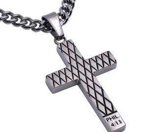 "Diamond Cross Necklace ""Christ My Strength"""