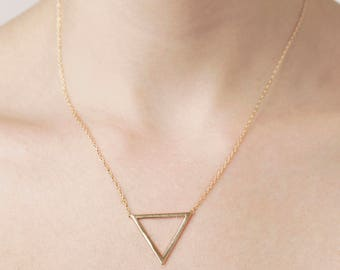 Gold Plated Triangle Necklace - Open Triangle Necklace - Dainty Geometric Necklace - Minimalist Layered Necklace - Gold Triangle Pendant