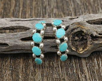 Native American Jewelry, Turquoise,Zuni,Sterling, earrings, Zuni Jewelry,  Zuni Pueblo Sterling Silver & Turquoise Earrings, Native American
