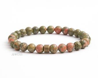 Unakite jasper bracelet Gift for men Mens bracelet Beaded bracelet Stretch bracelet Minimalist bracelet Good luck bracelet Talisman / 6mm