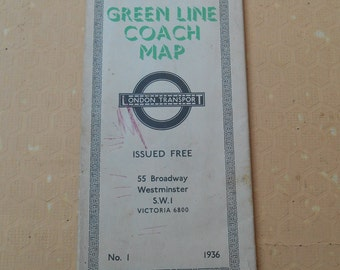 London Transport Coach Map 1936, Vintage Maps
