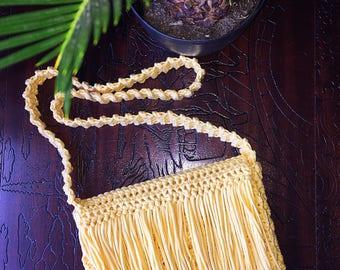 Fringe Crossbody Bag ~ Crochet Bag ~ Crochet Purse ~ Bohemian ~ Cotton Purse ~ Handmade Bag ~ Women's Purse